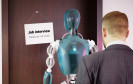 Man waiting in line with robot for job interview
