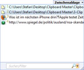 Das globale Kontextmenü von Clipboard Master bietet Ihnen zusätzlich Zugriff auf vorhergehende Kopien der Zwischenablage, Textbausteine und andere Optionen.