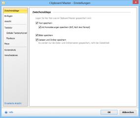 """Die Einstellungen des Programms Clipboard Master erreichen Sie mit der Tastenkombination [Windows Alt F11]. Um Zugriff auf sämtliche Optionen des Programms zu erhalten, klicken Sie dann links unten auf """"Erweiterte Ansicht""""."""