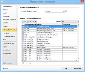 Viele Optionen von Clipboard Master lassen sich auch per Tastenkürzel aufrufen. In den Einstellungen des Programms lassen sich diese Tastenkürzel auch bearbeiten.