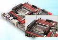 Prozessorsockel: Das ist die Kontaktstelle zwischen Mainboard und Prozessor. Intel und AMD entwickeln eigene Sockel-Typen. Hier sehen Sie den Sockel 2011 von Intel. Der silberne Halterahmen fi xiert die CPU.