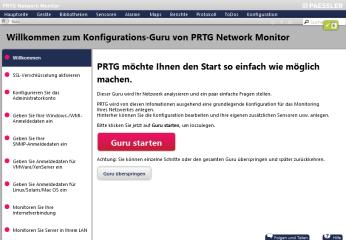 """PRTG Network Monitor überwacht Ihr Netzwerk und benachrichtigt Sie bei Problemen. Nach dem ersten Programmstart erfolgt die Konfiguration des Netzwerk-Monitors im Browser mit einem Klick auf """"Konfigurations-Guru starten""""."""