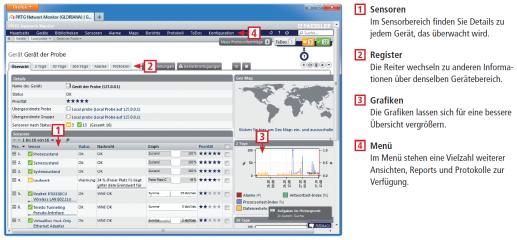 PRTG Network Monitor präsentiert Laufzeitdaten Ihres gesamten Netzwerks auf anschaulichen HTML-Seiten. Dieses Schaubild zeigt, wie Sie den Netzwerk-Monitor im Browser bedienen.