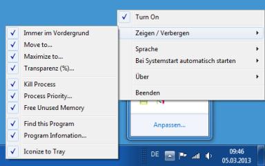 In der Konfiguration von Windows Menu Plus setzen Sie ein Häkchen vor allen Befehlen, die Sie im Systemmenü haben wollen.