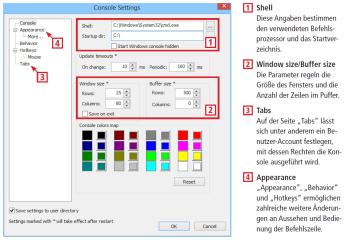 Console2 ist schicker, unterstützt zusätzliche Befehls-Interpreter und verfügt über mehr Funktionen als die Standard-Befehlszeile. Die wichtigsten Einstellungen des Tools erläuert dieses Schaubild.