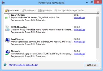 Im Download von Power GUI ist bereits eine Reihe fertiger Skripts enthalten. Diese Skriptpakete erweitern die Powershell unter Power GUI um neue Funktionen.