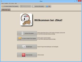 JSkat ersetzt beim Skat-Spiel am lokalen Tisch fehlende menschlichen Gegner durch den Computer oder sucht Mitspieler auf dem Internationalen Skat Server ISS.