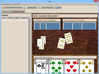 """Wählen Sie auf der JSkat Willkommensseite """"An einem lokalen Tisch spielen"""", um einen neuen Skat-Tisch zu eröffnen. Anschließend klicken Sie auf """"Skatserie starten"""" und bestimmen Sie die Anzahl der Spiele und die Spielstärke Ihrer Gegner."""