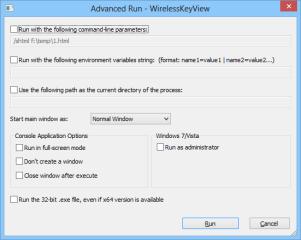 """Nachdem Sie ein Tool der Nirlauncher-Sammlung markiert haben, starten Sie es mit dem """"Run""""-Button links unten. Wählen Sie stattdessen """"Advanced Run"""", dann öffnet sich ein Fenster, in dem sich zusätzliche Startparameter festlegen lassen."""