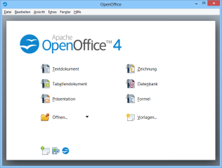 DIe kostenlose Buro-Suite Apache OpenOffice enthält die Anwendungen Writer (Textverarbeitung), Calc (Tabellenkalkulation), Impress (Präsentationsprogramm), Draw (Grafikprogramm), Base (Datenbankprogramm) und Math (Formeleditor).