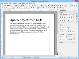 Die größte Neuerung in Version 4 von Apache OpenOffice ist die Sidebar. Diese Werkzeugleiste am Seitenrand ist kontextsensitiv und bietet einen schnellen Zugriff auf häufig benötigte Editierfunktionen.