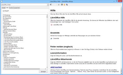 Nach Abschluß der LibreOffice-Installation sollten Sie zusätzlich die deutsche LibreOffice-Hilfe herunterladen und installieren, damit Sie aus LibreOffice heraus mit der F1-Taste die Hilfetexte des Office-Pakets erreichen.