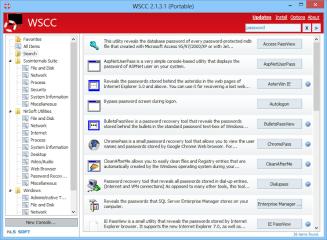 """Das Windows System Control Center – kurz WSCC – ist eine Sammlung mit über 250 System-Tools. In der linken Spalte sind die Tools nach Herstellern in die Rubriken """"Sysinternals Suite"""", """"NirSoft Utilities"""" und """"Windows"""" sowie in zahlreiche Unterrubriken ein"""