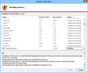 Der Update-Manager des Windows System Control Center prüft, ob neue Versionen eines Tools bereitstehen.