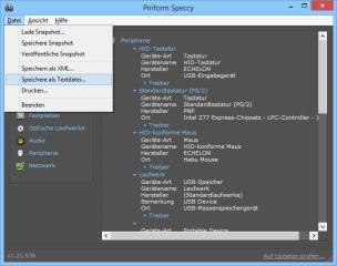"""Mit dem Befehl """"Speichere als Textdatei…"""" gibt Speccy einen Hardware- und Statusbericht zum PC als Textdatei aus."""