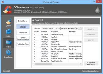 """Unter """"Extras, Autostart"""" lassen sich im Ccleaner Autostarteinträge, Browser-Erweiterungen und nicht benötigte Shell-Erweiterungen deaktivieren."""