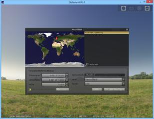 """Nach dem Start des PC-Planetariums Stellarium öffnen Sie über die Konfigurationsleiste oder mit der Taste [F6] zunächst das """"Standortfenster"""". Geben Sie nun hinter dem Lupensymbol den Namen Ihres Standorts, etwa München, und klicken Sie dann den entsprech"""