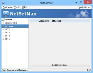Zwischen mehreren in NetSetMan gespeicherten Netzwerkprofilen schalten Sie entweder über diese Kompaktansicht um oder SIe nutzen das NetSetMan-Symbol im Systemtray von Windows.