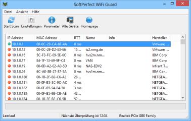 """Nach dem ersten Start des Wifi Guard wählen Sie Ihre Netzwerkverbindung und klicken dann auf """"Start Scan"""". Wifi Guard durchsucht nun Ihr WLAN und listet alle dabei gefundenen Netzwerkgeräte auf."""