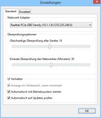 In den Einstellungen von Wifi Guard legen Sie ein Zeitintervall für den Netzwerk-Scan fest und bestimmen, ob das Tool beim Hochfahren des PCs automatisch starten soll.