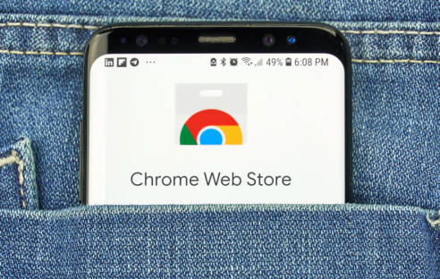 Google Chrome Web Store auf Smartphone-Screen