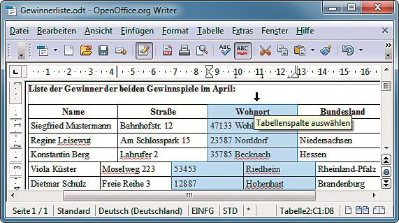 Tabellen verbinden und teilen com professional for Tabelle 7 spalten