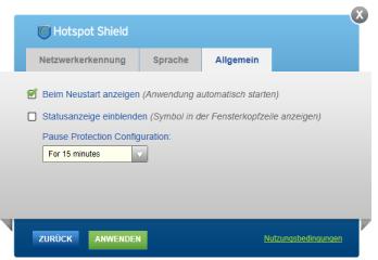 In den Einstellungen lässt sich auch ein automatischer Start von Hotspot Shield sowie eine Statusanzeige im Fensterkopf einrichten.