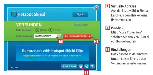 Die wichtigsten Bedienelemente von Hotspot Shield, zeigt Ihnen diese Infografik..