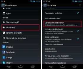 Android Einstellungen Sperren