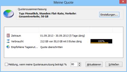 Networx warnt Sie vor einer drohenden Bandbreitenüberschreitung, wenn Sie keine Internet-Flatrate verwenden.