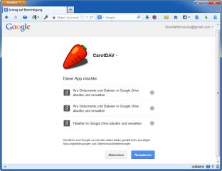 Ein Klick im Programm und das Akzeptieren der Anfrage im Browser genügen, um Ihren Speicher bei Google Drive in CarotDAV einzubinden.