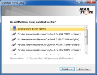 Mailstore Home enthält eine flexible Installationsroutine und lässt Ihnen die Wahl, ob Sie eine fixe oder eine portable Version einrichten wollen.