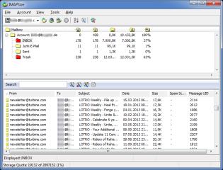 IMAPSize unterstützt die Verwaltung von IMAP-Konten, hilft beim Aufräumen und erstellt Backups von E-Mail-Postfächern.
