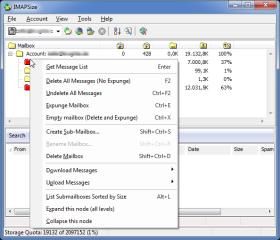 Ein Rechtsklick auf einen Mail-Ordner in IMAPSize öffnet umfangreiche Lösch-, Backup- und Wiederherstellungsfunktionen.