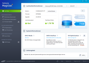 Samsung Magician analysiert den Gesamt¬zustand Ihrer SSD, aktua¬lisiert die Firmware, ver¬bessert die Leistung und schreddert auf Wunsch alle Daten des Laufwerks.