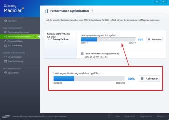 Mit Samsung Magician lässt sich der TRIM-Befehl manuell an die SSD schicken. Sie löscht daraufhin Datenmüll und wird wieder schneller.