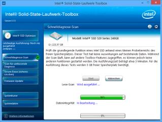 """Die Intel SSD Toolbox bietet zwei verschiedene Diagnose-Scans für Ihre SSD: einen """"Schnelldiagnose-Scan"""" und einen""""Scan für umfassende Diagnose""""."""