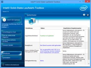 Die Intel SSD Toolbox enthält auch Vorschläge zu Einstellungen, um die Systemleistung in Verbindung mit der SSD zu verbessern.