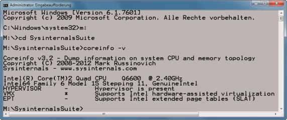Coreinfo: Die Hardware-Virtualisierung des Prozessors ist wichtig, wenn Sie viel mit virtuellen Maschinen arbeiten. Grund: Das kostenlose Virtualisierungsprogramm Virtual Box lässt Sie nur dann 64-Bit-Systeme installieren, wenn der Prozessor Hardware-Virt