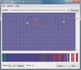 Diskview: Das Tool zeigt grafisch die Dateien auf der Festplatte an. Sie erkennen dadurch, wie viel Speicherplatz die Dateien belegen und ob sie fragmentiert sind.