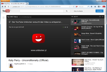 Der Youtube Unblocker - hier als Firefox-Add-on - erkennt Youtube-Sperren und umgeht sie, indem er das Video über einen ausländischen Proxy-Server abruft.