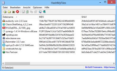 HashMyFiles erstellt MD5-, CRC32- und SHA-Prüfsummen von Ihren Dateien, damit Sie Manipulationen erkennen können, bevor ein heruntergeladenes Programm ausgeführt wird.