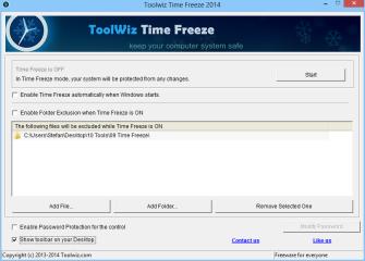"""Nach dem ersten Start von Time Freeze, sollten Sie zunächst die Option """"Show toolbar on your Desktop"""" aktivieren. Das Tool zeigt Ihnen dann durch ein kleines, frei platzierbares Banner auf dem Desktop, ob die Virtualisierung aktiv ist."""