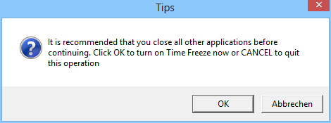 Wenn Sie in Time Freeze die Virtualisierung starten, dann fordert Sie dieser Dialog auf, zunächst alle laufenden Anwendungen zu beenden.