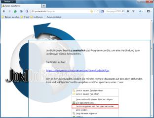 Um mit dem JonDoBrowser anonym surfen zu können, wird außerdem der Proxy-Client Jondo benötigt. Dieser kann ebenfalls kostenlos heruntergeladen werden.