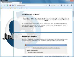 Der JonDoBrowser ist ein modifizierter Mozilla Firefox, der anonymes Surfen im Internet ermöglicht. Er befindet sich derzeit in der Beta-Pase und soll in Zukunft das Browserprofil JonDoFox ablösen.