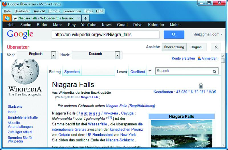 übersetzen Webseite Firefox