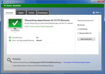 PC-Status: Wie die meisten Antivirenprogramme nutzt auch Security Essentials Ampelfarben zur Verdeutlichung des Sicherheitsstatus. Grün bedeutet: alles in Ordnung.