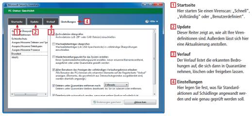 Microsoft Security Essentials gewährt Grundschutz gegen Viren, Spyware und andere Schadsoftware. Die wichtigsten Bedienelemente des Virenscaners erläutert diese Infografik.
