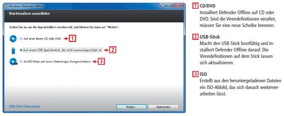 Windows Defender Offline erstellt ein Live-System zum sauberen Booten und Reparieren des PCs nach einem Virenbefall. Die wichtigsten Bedienelemente des Microsoft-Tools zeigt Ihnen diese Infografik.